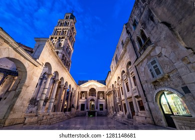 Peristyle in Diocletian's Palace during the blue hour in Split, Croatia