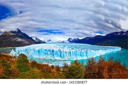 Perito Moreno glacier in Argentina. Argentina Perito Moreno glacier landscape. Panorama of Perito Moreno glacier in Argentina