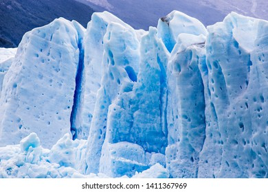 Perito Moreno Glacier in Los Glaciers National Park in Patagonia, Argentina. Blue ice Glacier, ancient ice, El Calafate, Patagonia. Blue ice close up, ice background.