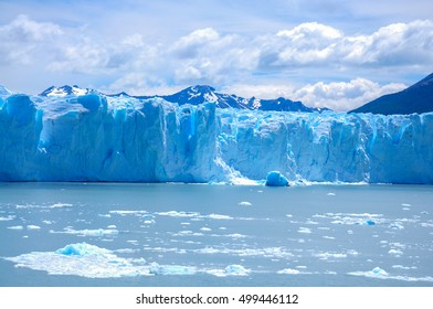 Perito Moreno glacier, the most famous tourist attractions in Patagonia, Argentina. Beautiful landscape of Patagonia. Climate change, global warming, melting glacier