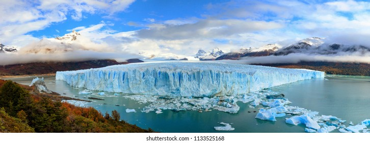 The Perito Moreno Glacier panoramic view.  Autumn in Los Glaciares National Park. El Calafate. Santa Cruz province.  The Andes. Argentina. Large panorama
