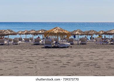 Perivolos and Perissa black sand beach, Santorini island, Cyclades, Greece