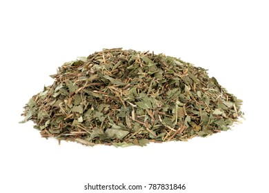 Periwinkle leaf herb used in alternative medicine to treat leukemia, hodgkins disease, malignant lymphomas, high blood pressure and many other health disorders. Catharanthus roseus.