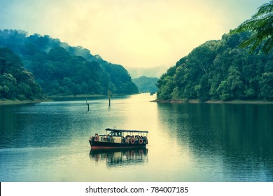 Periyar, Kerala, India - October 14, 2007 :  A scenic view of tourist boat on lake at Periyar national park, Kerala