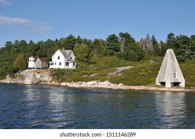 Perkins Island lighthouse on the Kennebec River in Maine