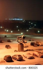 Perlan, Reykjavik, At Night In Snow