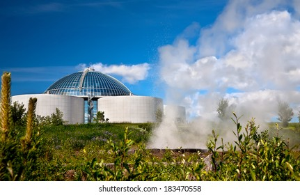 The Perlan and small geyser in Reykjavik, Iceland.