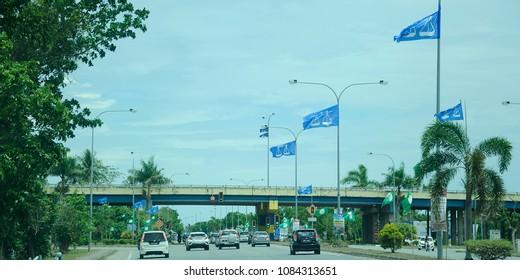 Perlis , Malaysia – 27April May 2018: Flags of political parties (Barisan Nasional)  participate in Malaysia's 14th General Election or Pilihanraya Umum ke-14 .