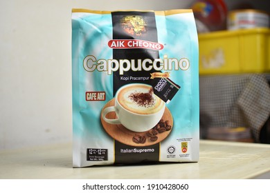 Perlis, Malaysia - February 06 2021: Italian cappuccino flavors can now be tasted with pre-mixed coffee products.