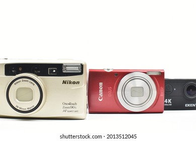 Perlis, Malaysia - July 25 2021: Some types of cameras according to change of time and circumstances.
