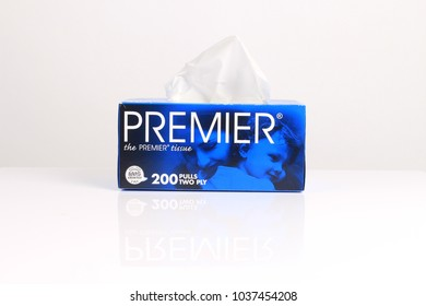 PERLIS, Malaysia-Mar 03, 2018:PREMIER soft tissue box isolated with white background. The PREMIER brand tissue caters to the variety of products that consists of facial and toilet tissue.
