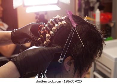 perm at the beauty salon