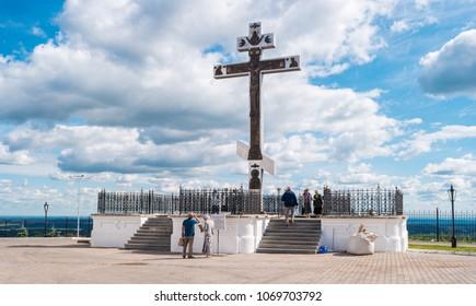 Perm, Russia - Augest 17, 2017: Royal Cross near Belogorsky Convent in Perm Krai.