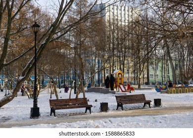 Perm, Russia - December 14, 2019: snow-covered playground in the winter park