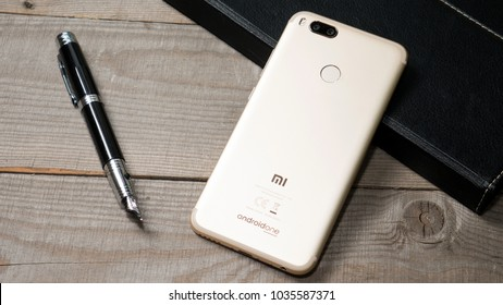 PERM, Russia - FEBRUARY 7, 2018:  smart phone Xiaomi Mi A1 gold
