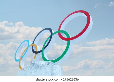 PERM, RUSSIA - JAN 6, 2014: Cloudy sky and symbol of Olympic Games in Ice town, created in honor of Winter Olympic Games 2014 will be in Sochi, Russia.