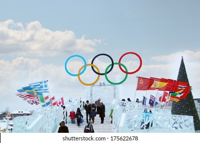 PERM, RUSSIA - JAN 6, 2014: Symbol of Olympic Games in Ice town, created in honor of Winter Olympic Games 2014 will be in Sochi, Russia.