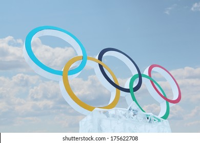 PERM, RUSSIA - JAN 6, 2014: Blue sky and symbol of Olympic Games in Ice town, created in honor of Winter Olympic Games 2014 will be in Sochi, Russia.