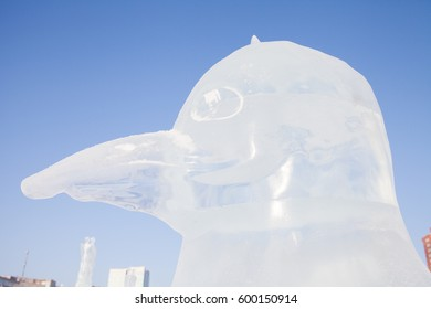 Perm, Russia - January 28.2017:  Sculpture of the penguin from an ice on an esplanade