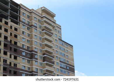 PERM, RUSSIA - JUL 14, 2017: New brick residential building under construction, in 2014 residential buildings were built in record numbers in Russia