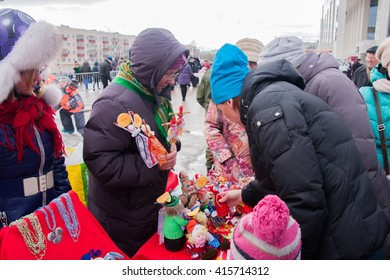 PERM, RUSSIA - March 13, 2016: Trade stalls selling soft toys in celebration of Maslenitsa