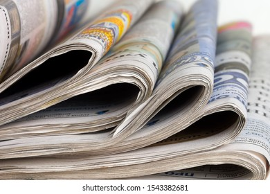 Perm, Russia-October 27, 2019: Russian Newspapers on the desktop in the office, media concept