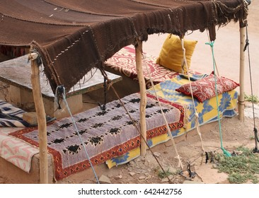 A permanent Berber tent for eating in sitting in a village outside of Todra Gorge in the Atlas Mountains of Morocco.