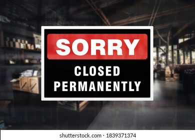 Permanent closure notice of a bar, pub or restaurant. Concept of indefinite closure, suspension, bankruptcy or going out of business. - Shutterstock ID 1839371374