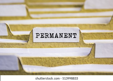 PERMANENT word on card index paper