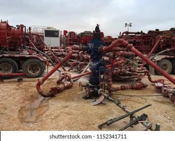 Permian Basin Fracking Equipment on a Wellhead