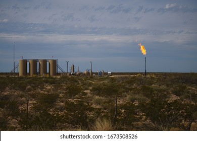 Permian Basin Gas Flare - Burning excess natural gas at a crude oil storage site is a common practice when gas prices deem it uneconomical to transport the gas to market.