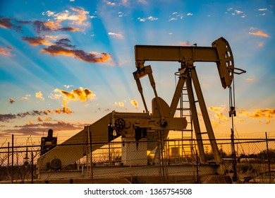 Permian Basin  pump jacks at sunset