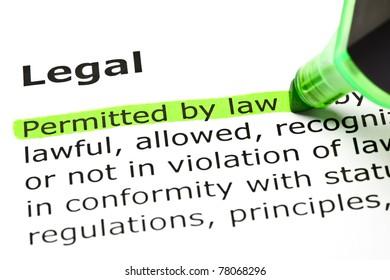 Permitted by Law highlighted in green, under the heading Legal.