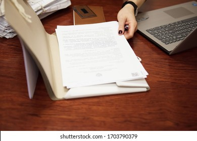 Perm/Russia - December, 07, 2018: Lawyer working. Stack of business paper. A file folders  with documents and important documents.