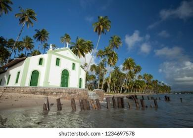 Tamandaré, Pernambuco / Brazil - 09/16/2015: Church of São Benedito, built in the 18th century - Carneiros Beach, south coast of Pernambuco