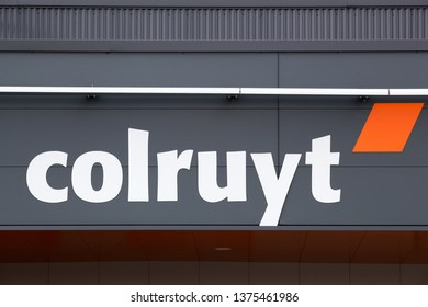 Peronnas, France - April 7, 2019: Colruyt logo on a panel. Colruyt is a Belgian family owned retail corporation that is managing the Colruyt supermarket retail stores