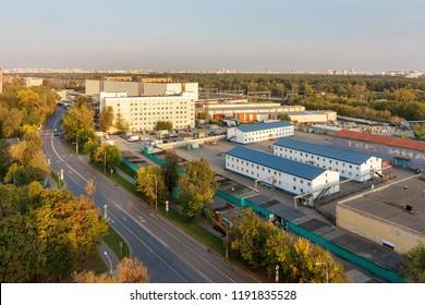 Perovo District is an administrative raion of Eastern Administrative Okrug of Moscow, Russia - September 2018. Perovskiy Park is located in between Lazo, Kuskovskaya, Perovskaya and Korennaya streets.