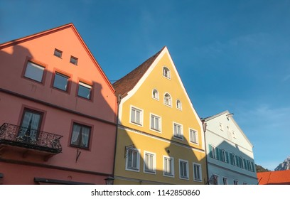 The perpective of colorful building at Fussen on sunshine day.