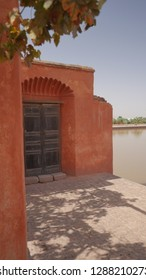 A perpective of one side of the pavilion of the Menara garden in Marrakech, in Morocco (October 2014).