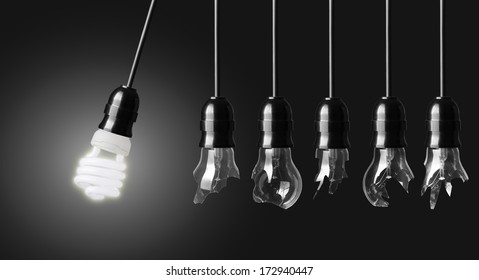 Perpetual motion with broken light bulbs and energy saver bulb