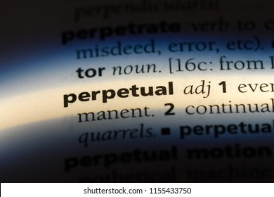 perpetual word in a dictionary. perpetual concept.
