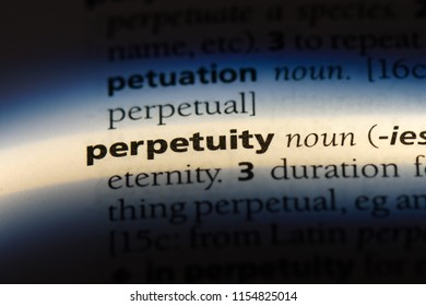 perpetuity word in a dictionary. perpetuity concept.