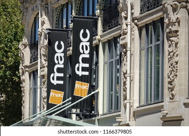 Perpignan, France - august 2018: Sign of Fnac store sign on facade