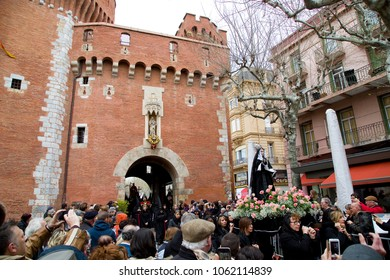 PERPIGNAN - MARCH 25: People at Procession de la Sanch, an annual ceremony in several towns of Southern Europe during Easter Holy Week, on March 25, 2016, in Perpignan, France.