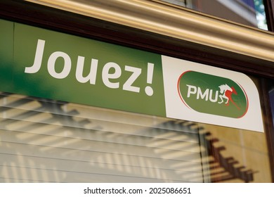 Perpignan , occitanie France  - 06 25 2021 : PMU logo brand and text sign store french agency for horse race bet sport organisation office windows