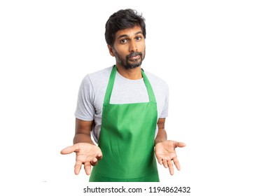 Perplexed supermarket or hypermarket indian emplpyee with two hands as curious concept isolated on white studio background