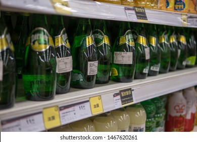 Perrier water in China : french products in chinese supermarket, Shanghai, China, 31 July 2019