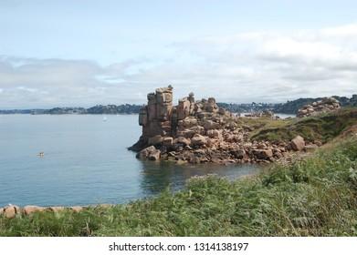 Perros-Guirec, Cote de granit rose, Cotes-d'Armor department in Brittany (Bretagne) France in august