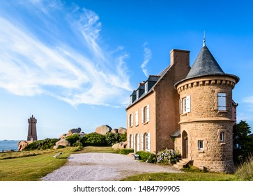 Perros-Guirec, France - August 1, 2019: This granite house was built in 1892 near the Ploumanac'h lighthouse on the Pink Granite Coast in Brittany and belongs to the same family for 4 generations.