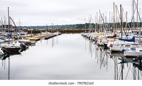 PERROS-GUIREC, FRANCE - JULY 2, 2010: boats in pontoon port Marie Augustine of Perros-Guirec commune. Perros-Guirec is town in the Cotes-d'Armor department in Brittany in northwestern France
